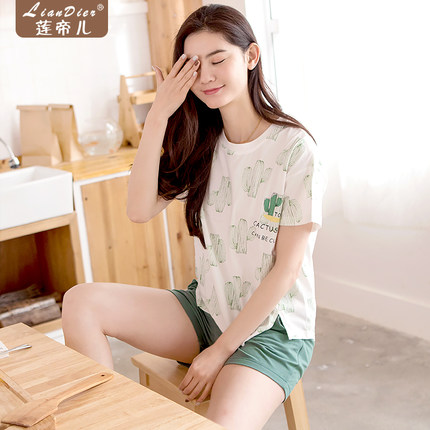 2017 New Women Summer Cotton Short-sleeved Short-pants Suit Pajamas