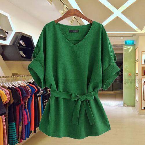 欧美女装2019夏季新款蝙蝠袖V领衬衫女宽松大码绿色收腰棉麻上衣
