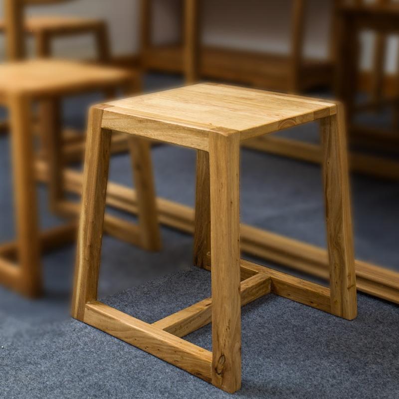 实木新中式榆木家用创意换鞋凳子