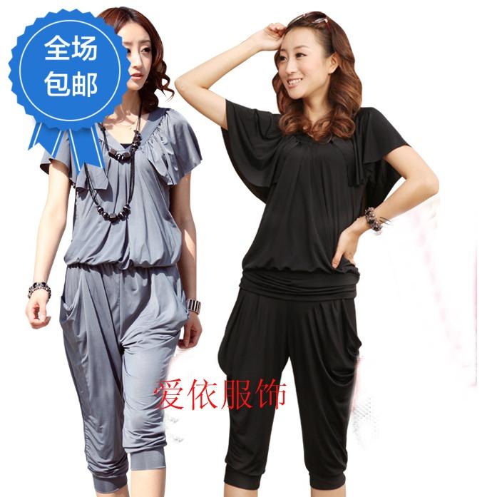 606号 2012新品女装韩版时尚V领蝙蝠袖连衣裤连体裤夏装