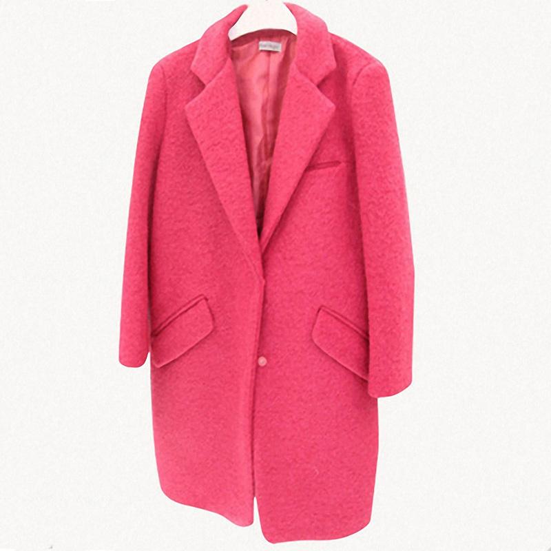 酷伽 女裝毛呢外套 純色修身暗扣中長款呢大衣女
