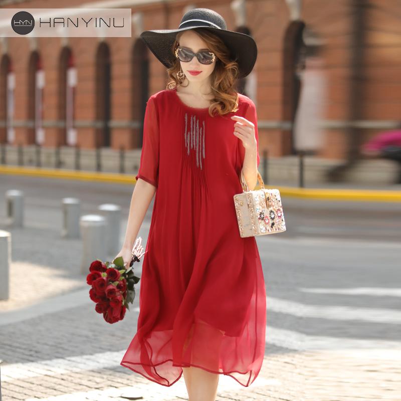 真丝连衣裙2018夏新款女装高端短袖气质纯色桑蚕丝民族风宽松长裙