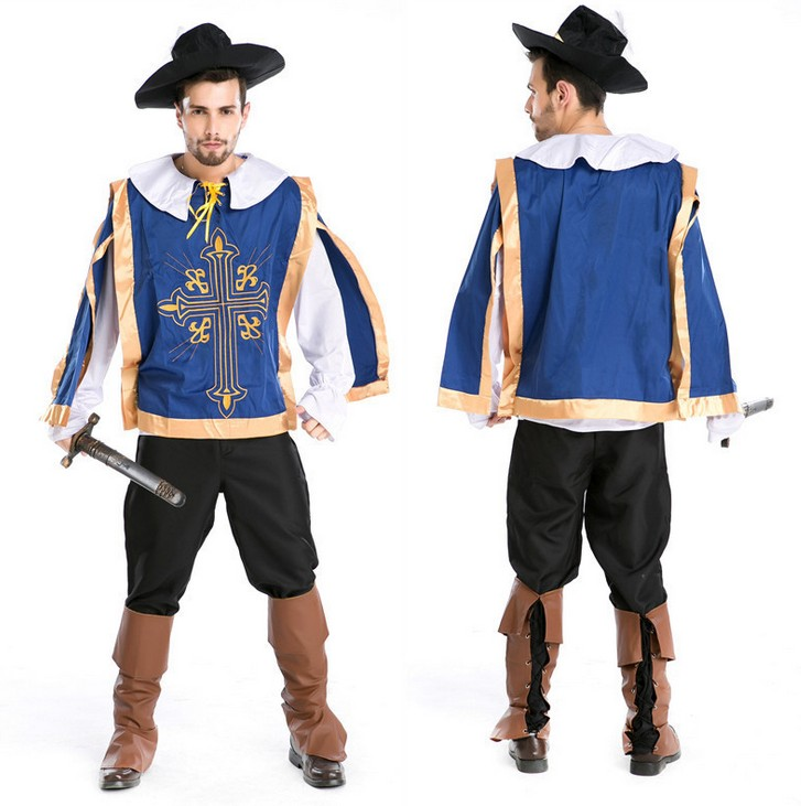 ハロウィンの男子制服のフェンシング師の役は服の角闘士の舞台を演じて夜店のゲームの制服を詰めます