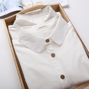 2019秋元宝领白色衬衫女长袖纯棉娃娃领职业修身工装打底衬衣学生