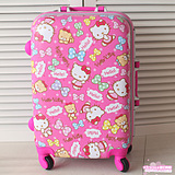 700c1e183 USD $61.79; Hellokitty genuine deep pink bow star boarding luggage trolley  caster travel 20 inches