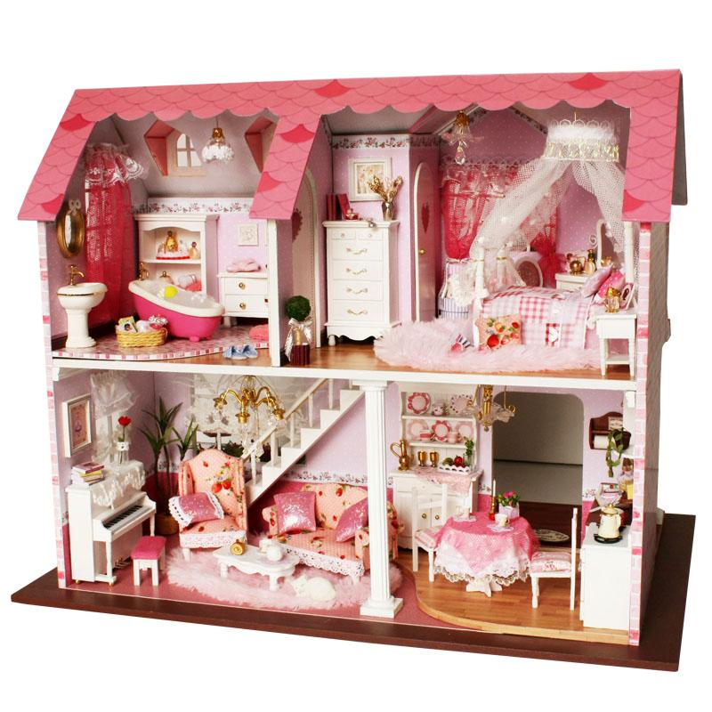 手工diy小屋粉色甜心公主房子拼装模型大型别墅同学女生日礼物