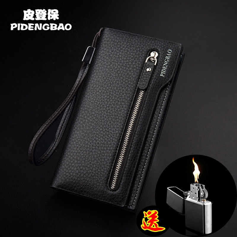Business Wallet mens long Japanese and Korean fashion trendsetter youth personality soft wallet multi-functional zipper handbag