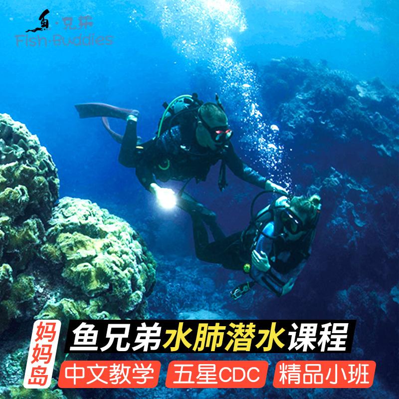 潜客妈妈拍丝瓜岛潜水考证鱼兄弟中文潜店PADI OW菲律宾宿务送FD