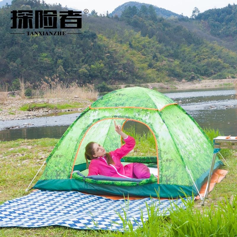 探險者戶外帳篷3~4人全自動速開2人雙人野外露營帳篷套裝防雨