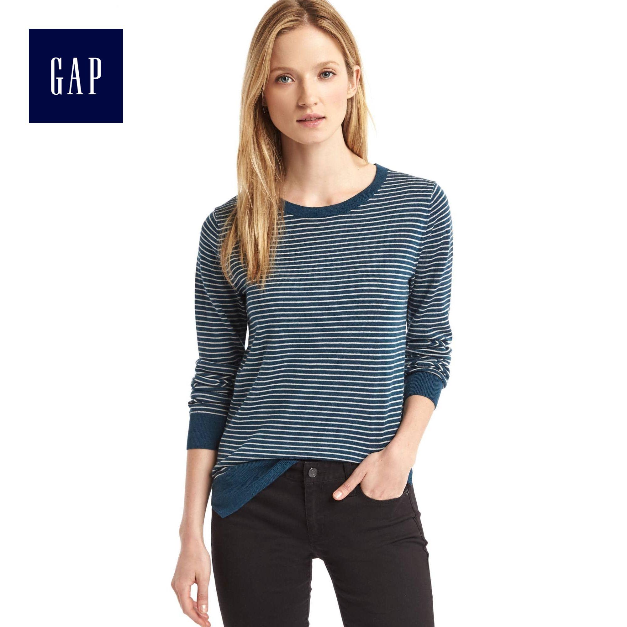 Gap女裝 美利奴純羊毛條紋元素圓領毛衣 套頭打底衫女 325525