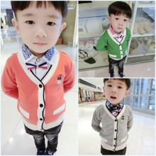 Children's clothes fall 2015 collection Baby boy child long sleeve in children cartoon knitting cardigan sweater coat