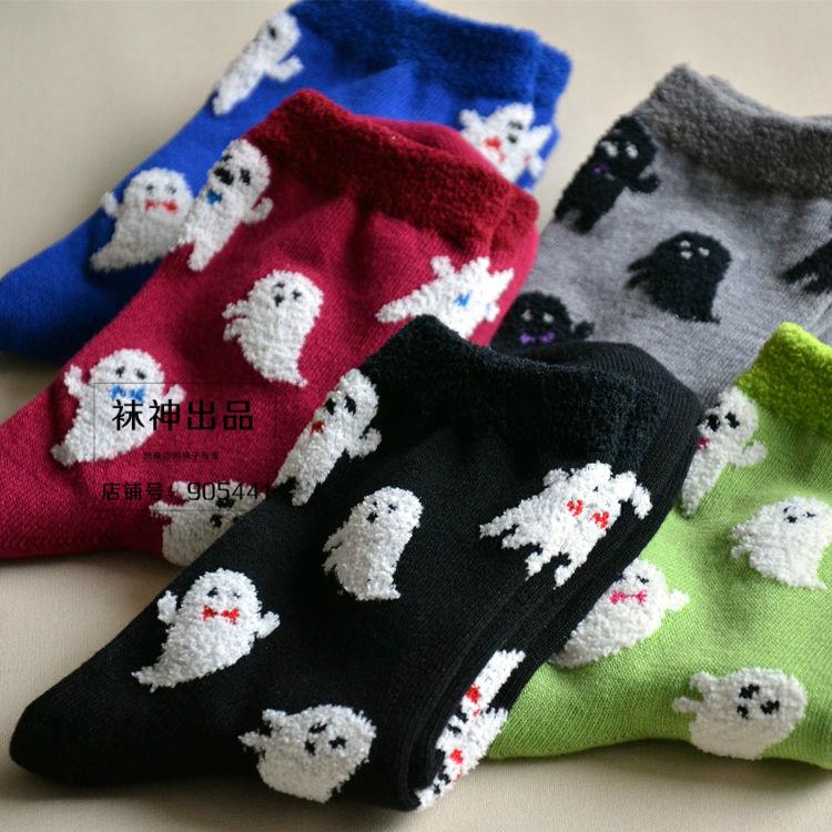 无脸男植绒 秋冬保暖中筒女士纯棉卡通女短袜黑红果绿宝蓝色袜子