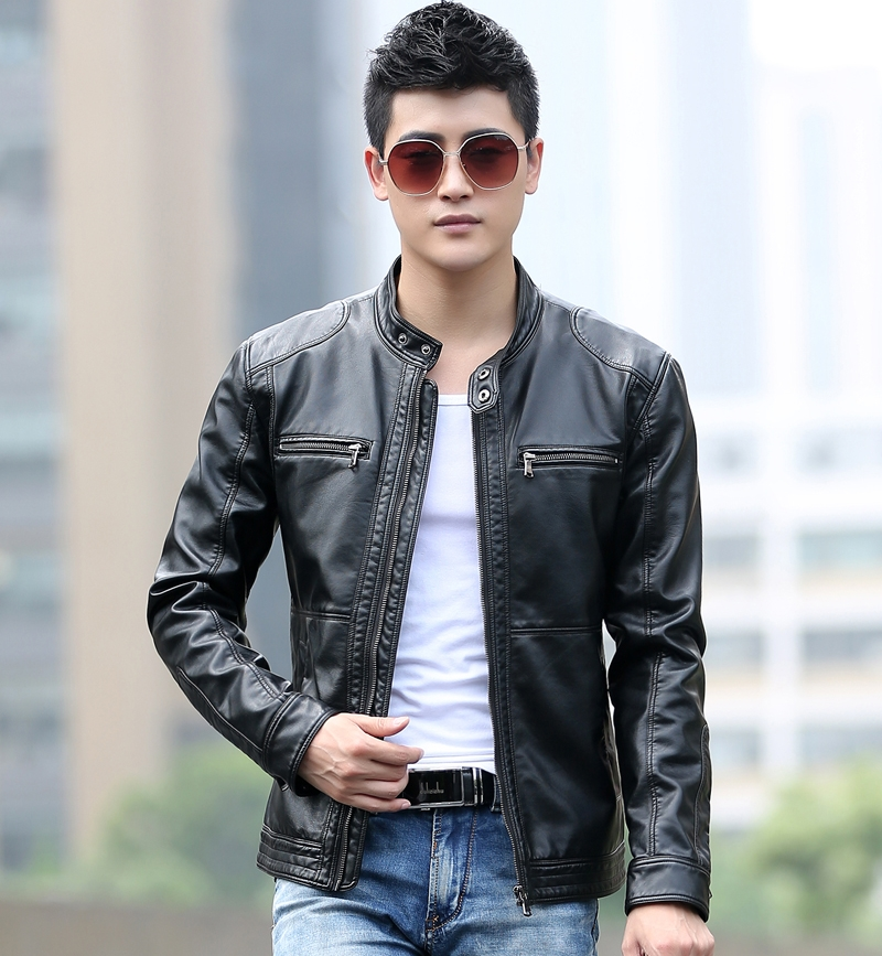 Spring new mens leather jacket Korean Short stand collar motorcycle leisure youth mens plush leather jacket