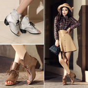 Autumn in new leather women sandal with peep toes shoes Rome cut short cold boot-straps laced boots