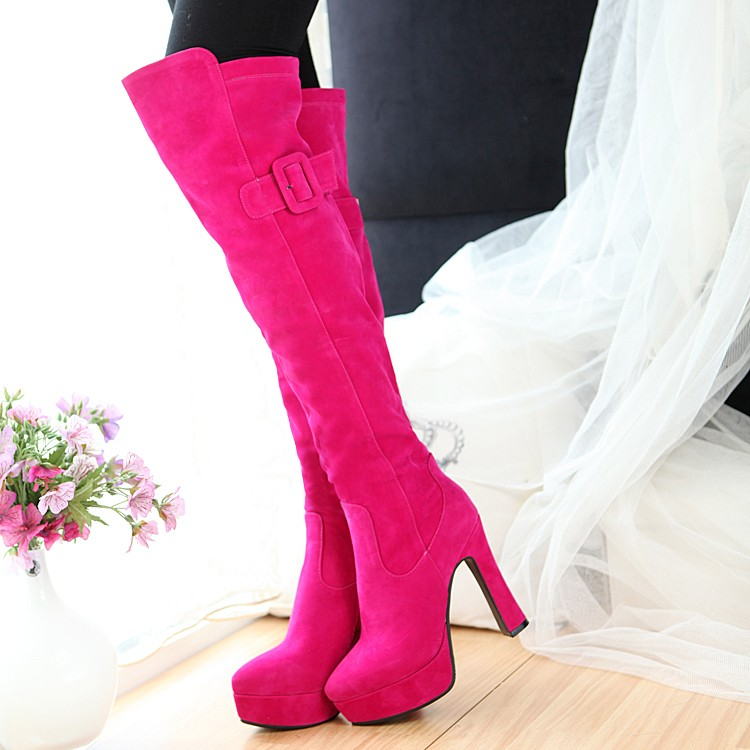 Autumn and winter womens boots small size large size boots childrens super high heels knee high boots apricot rose red womens shoes elastic thin boots
