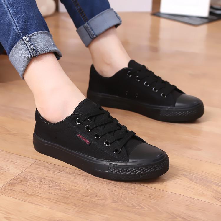 Мужчины низкий cut черный холст обувь тренеры черные кроссовки дышащие обувь для мальчиков и девочек обувь