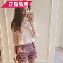 6 degrees 2015 summer in Europe and the south Korean new pure color long sleeve female thin section hollow out knitted blouse braid E8107