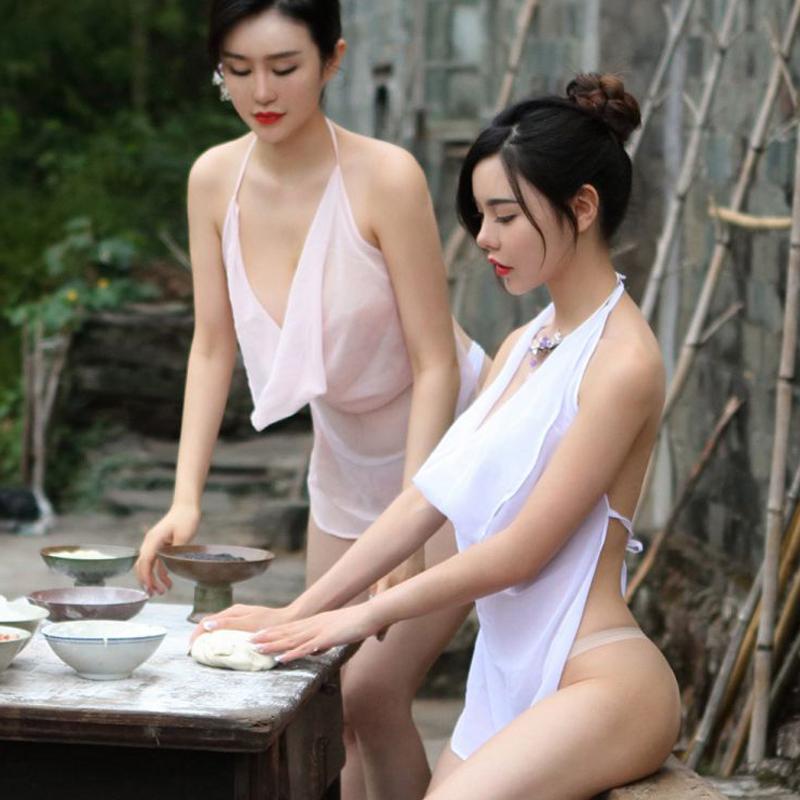 Восторг фартук стиль пижама мисс сексуальный для взрослых комплект одежда перспектива в предвкушении вонь древний наряд древний поколение дворец прозрачный красный