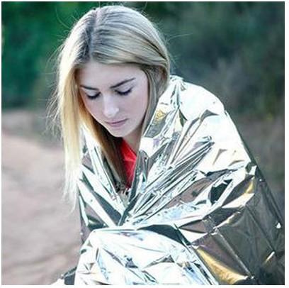 野外生存便携多功能急救帐篷 双面银色求生保温救生毯防晒毯