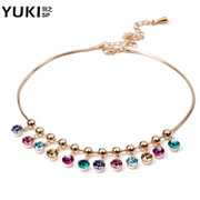 YUKI rose gold anklets female Korean fashion Rainbow high-end Austria Crystal girls Chinese Valentine''s day gifts