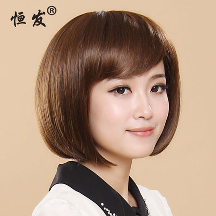 Bobo head fluffy high temperature handsome bangs fashion wig short hair oblique bangs high temperature silk natural lifelike fashion woman