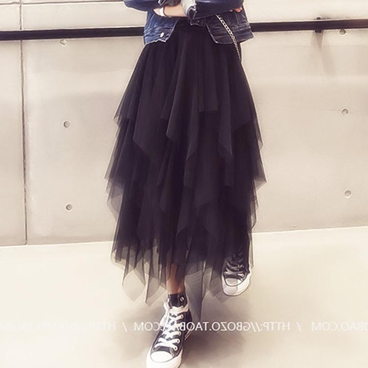 2018春夏女装新款纱裙半身裙中长款不规则网纱裙高腰显瘦蓬蓬裙潮