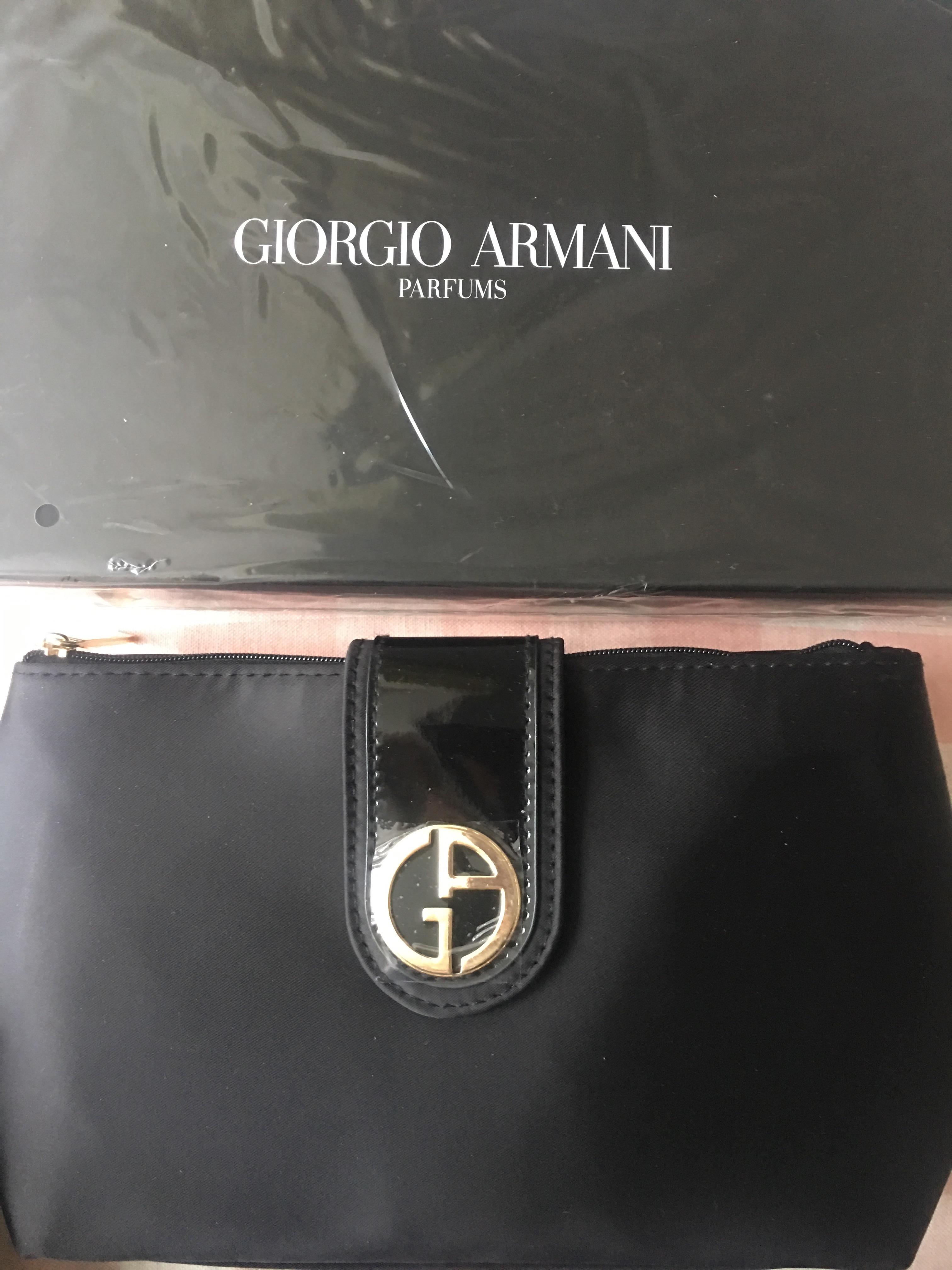 【现货】 YSL/Armani阿玛尼纯黑化妆包手拿包钱包化妆包 自留款