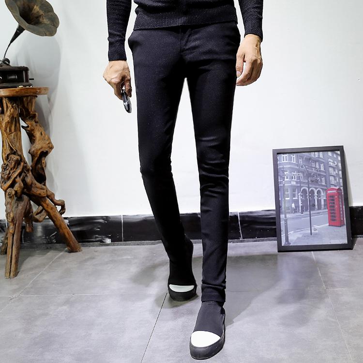 觅克加绒休闲裤男士纯黑色长裤加厚小脚发型师裤潮流修身款弹力裤