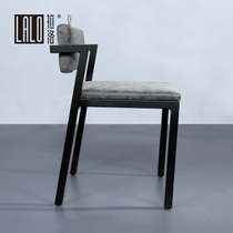 Lalo Minimalist 7-letter chair design Studio Backrest Chair designer working chair cement grey Leather