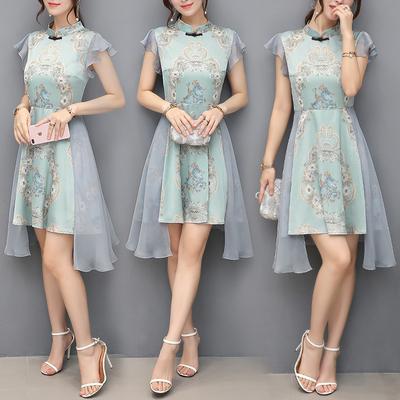 女装夏修身不规则连衣裙中裙女复古荷叶边雪纺立领短袖裙A821p68