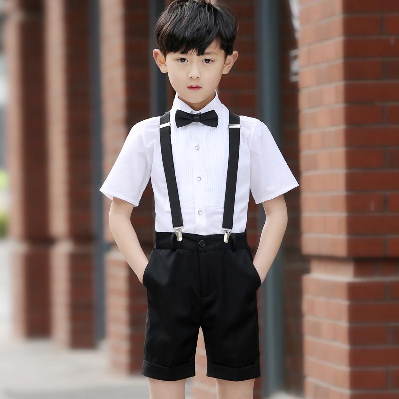 儿童礼服男六一儿童节短裤背带套装学生合唱演出服花童礼服男夏韩