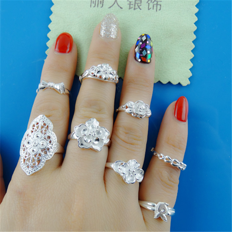 999 pure silver ring, perfume lily, plum blossom bow tie, female 999 Silver Ring, sky star index finger ring.