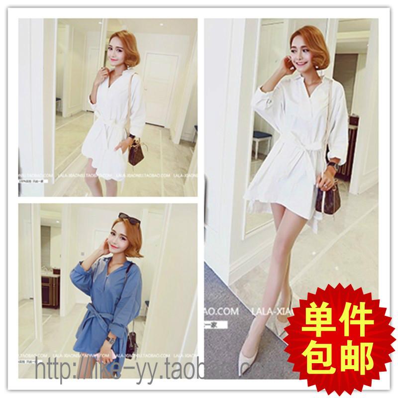 2016 Весна Новый корейский версия v шеи рубашки тонкий тонкий юбка сплошной цвет студент рубашки платье рубашка