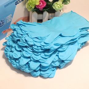 加厚蓝丁晴橡胶一次性加厚耐磨防滑劳保手套家务食品加工耐油耐酸