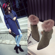 2015 leather pointy high heels wedges ankle boots for fall/winter fashion short boots wool-insulated boots in women''''''''s shoes new boots