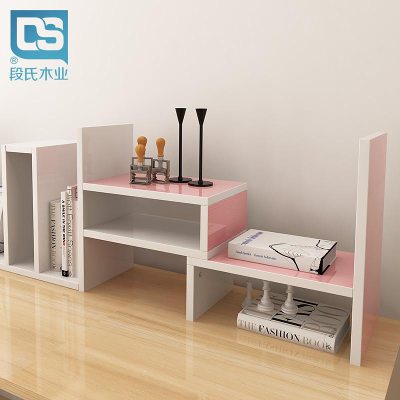 伸縮書架桌麵書架桌上小型辦公桌收納置物架簡易書櫃電腦桌架