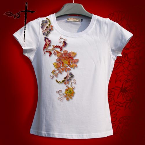 一叶原创 繁花织锦 女装纯棉夏季t恤 民族刺绣花纹出国礼品