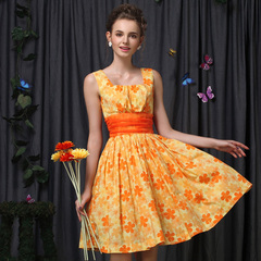 Elegant Daisy cute fresh print dress ladies high waist retro skirt Princess pettiskirt 9075