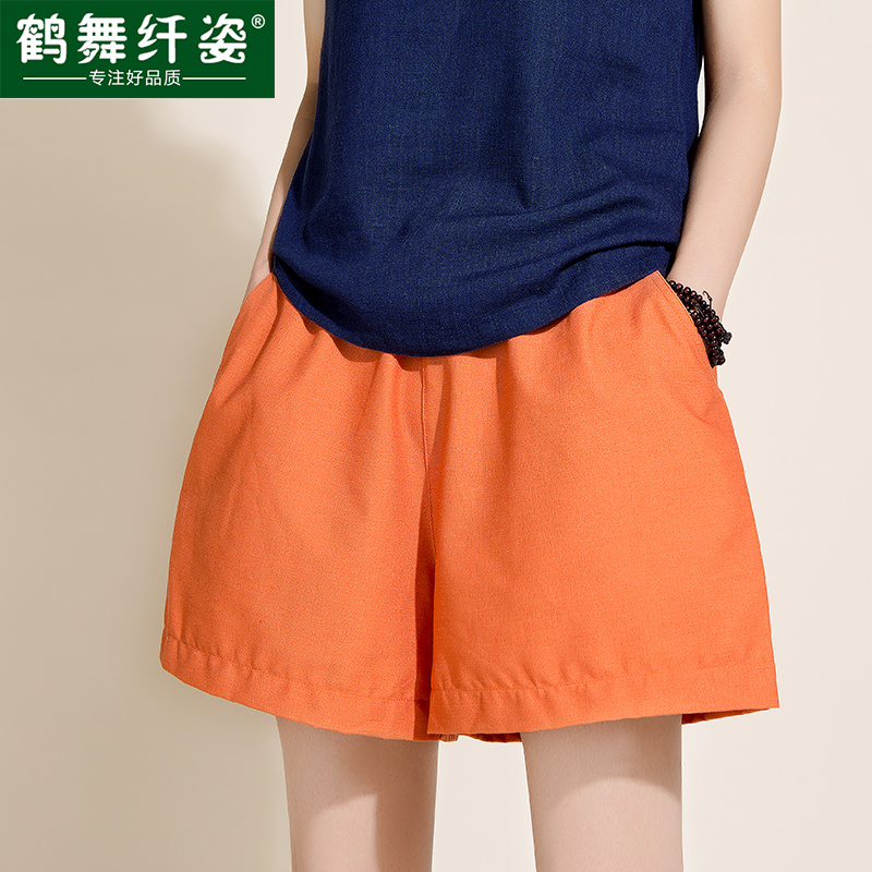 Хлопок платье девушки пляж в летние шорты XL плюс удобрения расслабленной широкие белья горячие штаны дома пять брюки