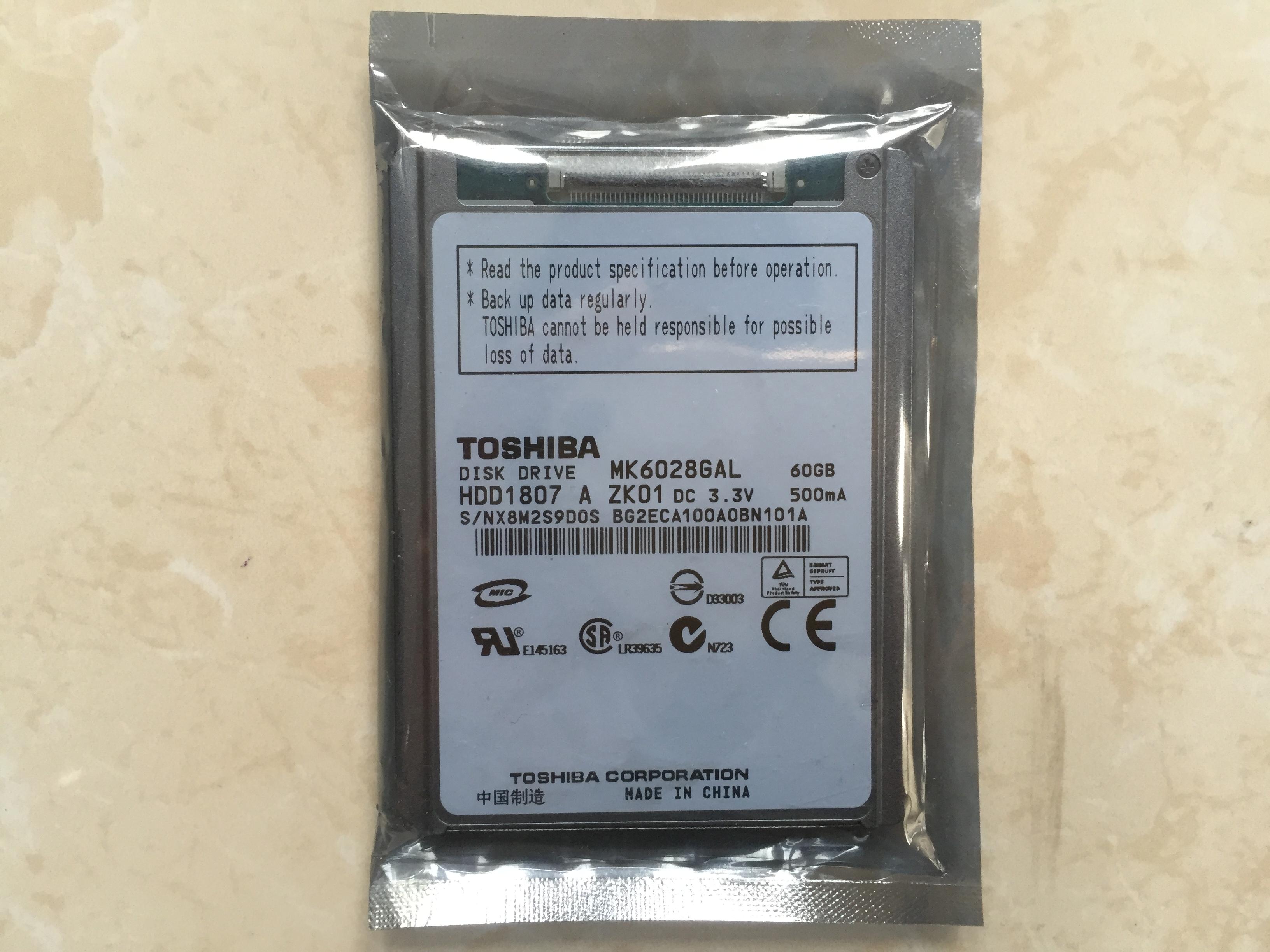 全新原装特价5MM薄盘东芝CE接口1.8寸60G笔记本电脑硬盘MK6028GAL