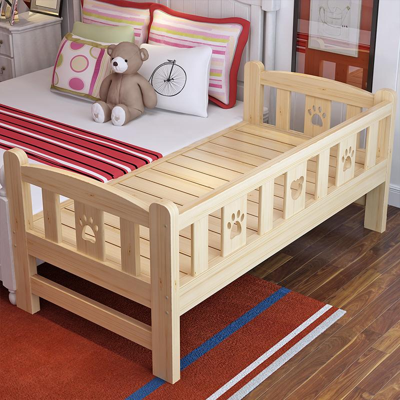 Бесплатная доставка дерево детская кроватка ограждение ремня маленькая кровать младенец кровать ребенок односпальная кровать сосна расширять сращивание кровать можно настроить