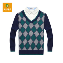 Tree kuo autumn wear cotton male big child two sweaters school style sweater knit son 14390333