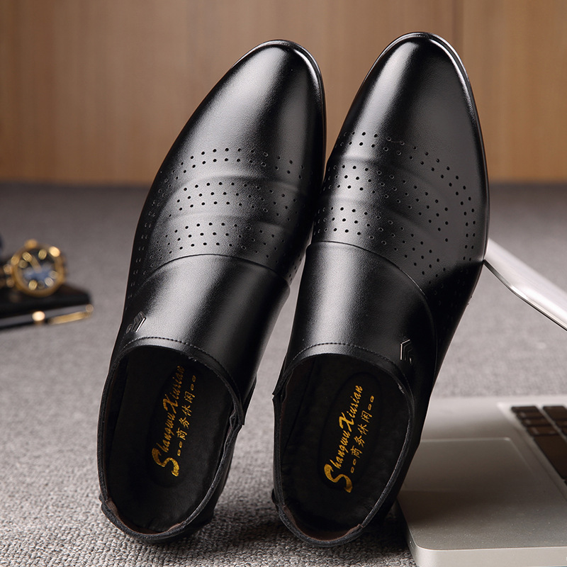 Summer new mens business dress hollow air permeable pointed toe shoes casual hole shoes light set shoes