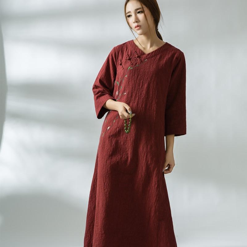 秋季民族风女装宽松复古改良长袖连衣裙大码中式棉麻长裙茶服原创