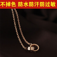 Necklace women in Europe and the star in 18 k was filed with the titanium steel rose gold collar bone chain LOVE double ring pendants