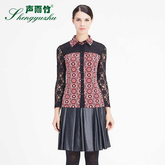 声雨竹女装专柜秋装 翻领几何印花蕾丝拼接修身长袖衬衫
