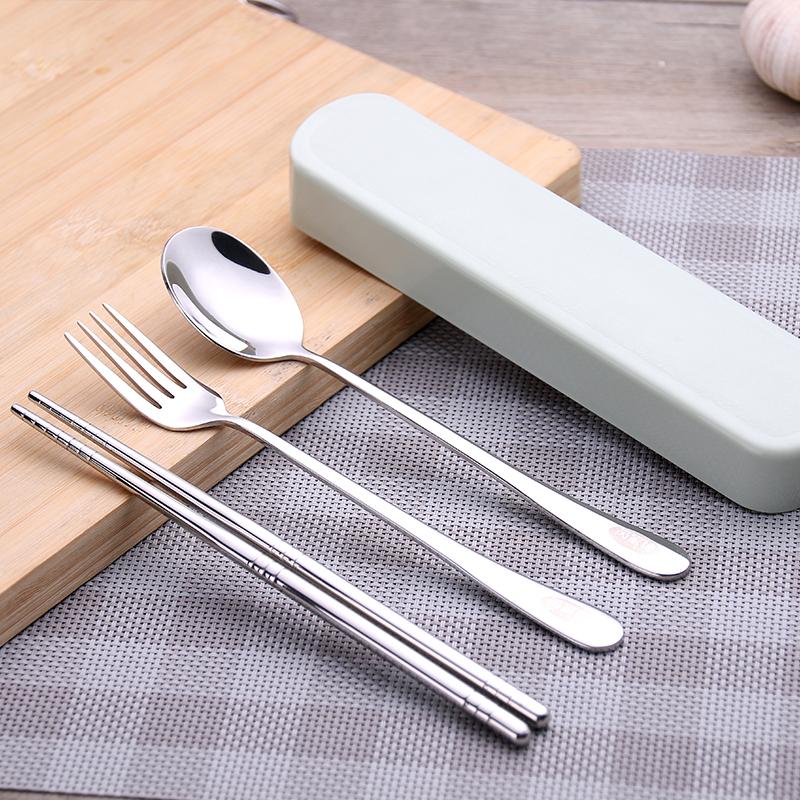 Корейский нержавеющей стали портативный посуда палочки для еды ложка вилка комплект из 3 предметов портативный посуда для взрослых путешествие коробка