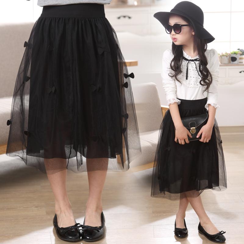 Ребятишки девочки 2017 в больших детей длинная модель талия вуаль юбка беспорядочного платье талия плиссированный платье принцессы