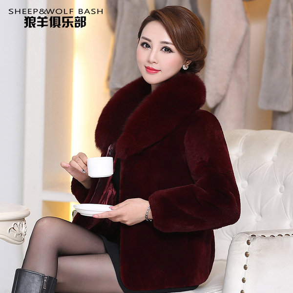 Haining Rabbit fur coat grass short paragraph fox fur collar middle-aged mom big yards female models special clearance fur
