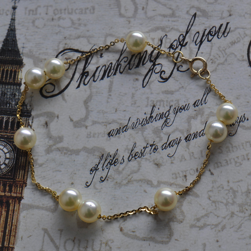 M familys same 18K Gold Japanese natural Akoya pearl necklace Passepartout Bracelet champagne gold package